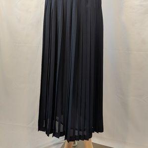 Vintage Navy blue pleated skirt w/ sheer overlay